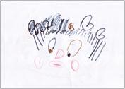 オンリーワン広島西教室生徒さん(5才)によるアドバイザー 田村 薫 のイラスト:クリックするとオンリーワンスクールについての説明